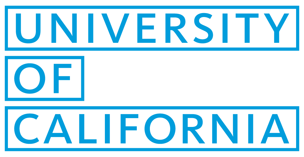 The University of California Logo in blue with a box outline around each word.